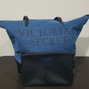 Victoria's Secret Tote Bag Set Denim Leather
